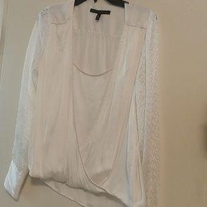 White House Black Market white sheer blouse